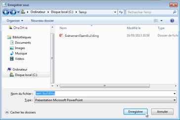 Enregistrer sur un disque local ou un disque réseau