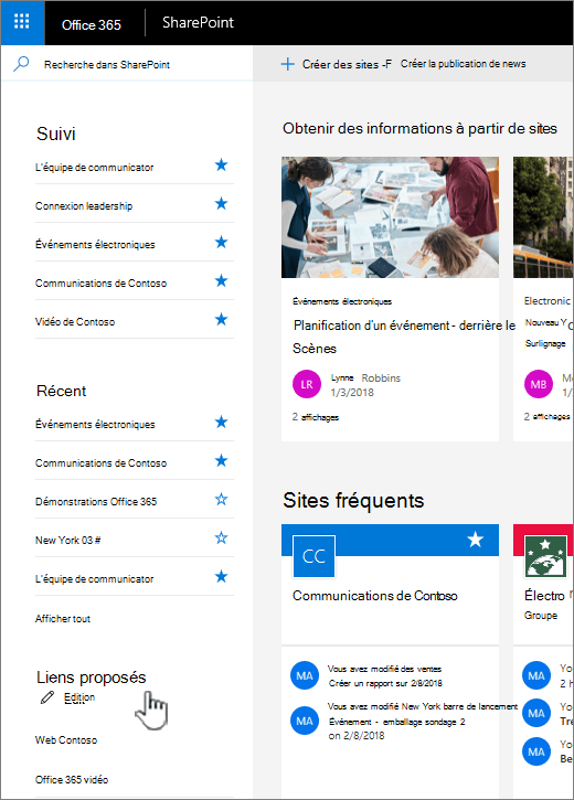 Liste de liens sur la page d'accueil de SharePoint online