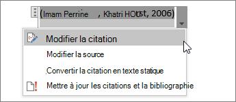 Sélectionner les options de citation, puis modifier la citation