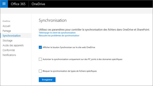 Onglet Synchroniser du Centre d'administration OneDrive