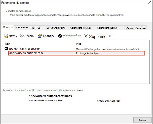 Comptes de courrier dans la boîte de dialogue Paramètres du compte d'Outlook