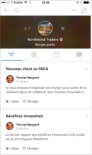 Mode conversation de l'application mobile groupes Outlook