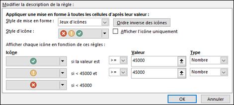 Mise en forme conditionnelle - Jeu d'icônes - Fenêtre d'options