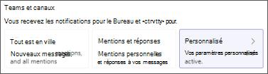 Personnaliser Teams notifications de canal