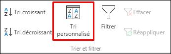 Options de tri personnalisé d'Excel à partir de l'onglet Données