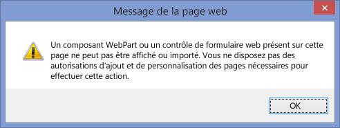 Message d'erreur affiché lorsque la fonctionnalité d'écriture de scripts est désactivée sur un site ou une collection de sites