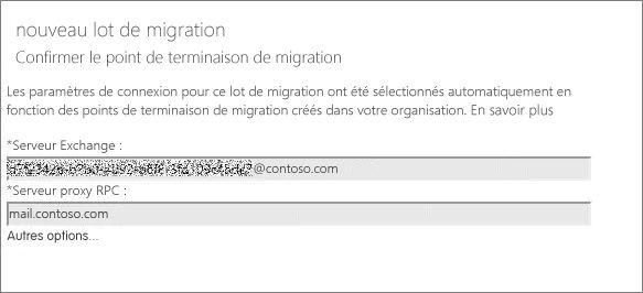 Nouveau lot de migration avec point de terminaison vérifié.