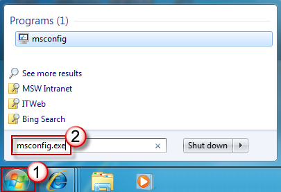 Start Search box - msconfig.exe