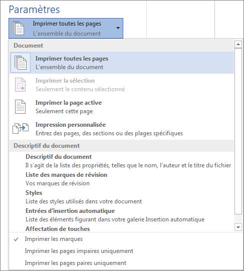 Capture d'écran du volet Imprimer avec le menu Imprimer toutes les pages qui a été développé de manière à afficher d'autres options.