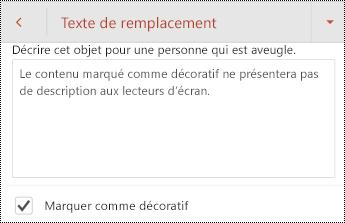 Option marquer comme décoratif sélectionnée dans la boîte de dialogue texte de remplacement de PowerPoint pour Android.