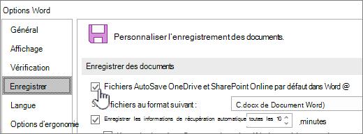 Activer l'enregistrement automatique par défaut dans Word