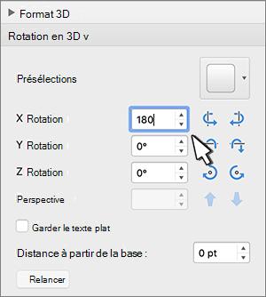 section rotation 3D avec la rotation X sélectionnée