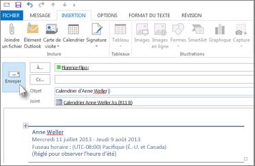 Envoyez votre calendrier par courrier électronique à un collègue