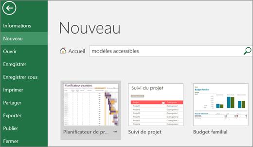 Capture d'écran de l'interface utilisateur d'Excel affichant une zone de recherche contenant une entrée de modèle accessible et les résultats de recherche correspondants.