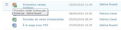 Info-bulle qui apparaît sous l'icône du fichier extrait. Elle indique à l'utilisateur le nom du fichier et le nom de la personne qui l'a extrait.