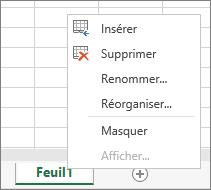 Menu qui apparaît après un clic droit sur un onglet de feuille avec les options d'insertion, de suppression, d'attribution d'un nouveau nom, de réorganisation ou d'affichage de la feuille