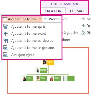 Options d'ajout de formes disponibles sous l'onglet Création des outils SmartArt