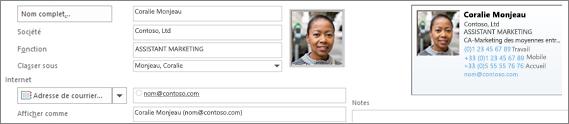 Vous pouvez ajouter ou modifier une image d'un contact.