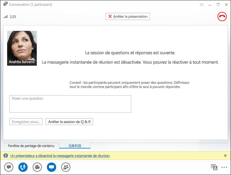 Capture d'écran de la fenêtre du Gestionnaire Questions/Réponses