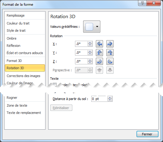 Options de Rotation 3D de la boîte de dialogue Format de la forme