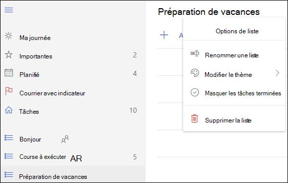 Autres options de la liste
