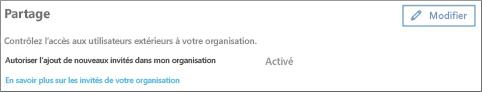 Autoriser l'ajout d'utilisateurs invités à mon organisation