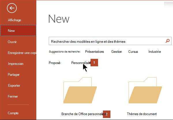 Sous fichier > Nouveau, cliquez sur personnalisée, puis sur Modèles Office personnalisés.