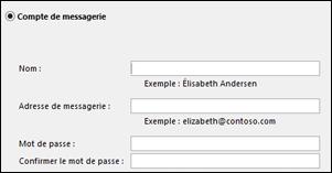 Entrez vos adresse de courrier et mot de passe pour Exchange
