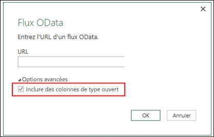 Power Query - Connecteur OData amélioré - Option pour importer les colonnes de type ouvert à partir d'un flux OData