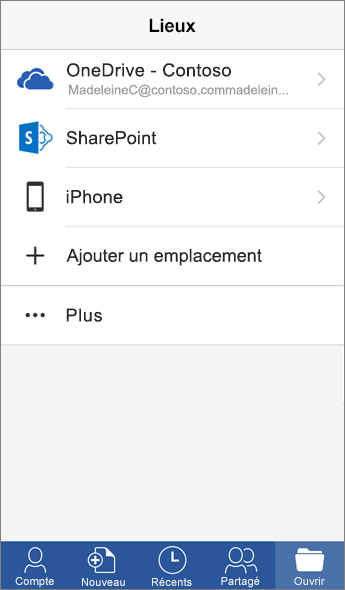 Capture de l'écran Emplacements dans l'application mobile Word