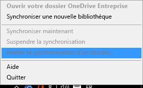 Capture d'écran montrant la commande Arrêter la synchronisation d'un dossier suite à un clic avec le bouton droit sur le client de synchronisation OneDriveEntreprise