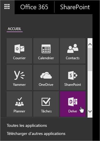 Volet d'application d'Office365 avec la vignette Delve active
