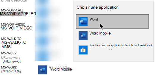 Utilisez Office (version de bureau) pour les protocoles qui ouvrent des modèles à partir du web