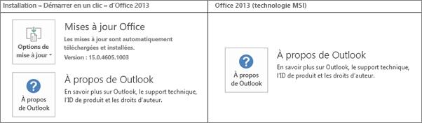 Graphique montrant comment déterminer si l'installation d'Office2013 est basée sur Démarrer en un clic ou sur MSI