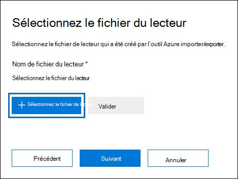 Cliquez sur fichier de sélection d'un lecteur pour envoyer le fichier journal qui a été créé lors de l'exécution de l'outil WAImportExport.exe