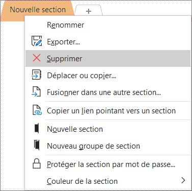 Capture d'écran du menu contextuel permettant de supprimer une section