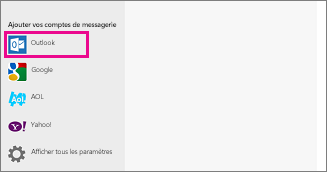 Page Ajouter vos comptes de messagerie de l'application Courrier  de Windows 8