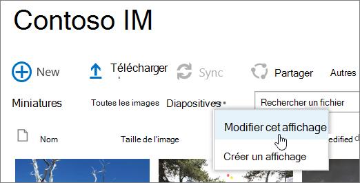Barre d'affichage de la bibliothèque d'images avec l'option modifier l'affichage sélectionnée