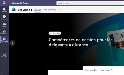 L'onglet Mon apprentissage affiche l'apprentissage recommandé et l'apprentissage fourni par Microsoft et des fournisseurs de contenu tiers