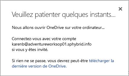 Capture d'écran de la boîte de dialogue Préparation de la synchronisation lors de la configuration de la synchronisation pour OneDrive Entreprise