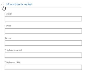 Développez la section Informations de contact pour entrer des informations facultatives, telles que le numéro de téléphone mobile et l'adresse.