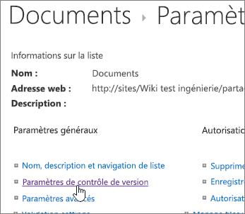 Boîte de dialogue Bibliothèque paramètres avec le contrôle de version sélectionné.