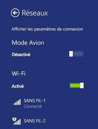 Wi-Fi paramètres