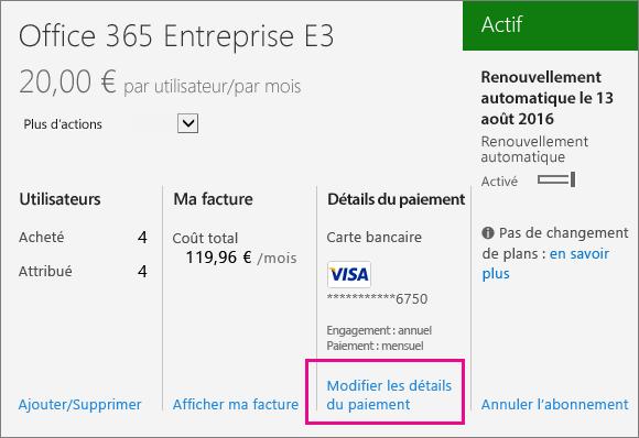 Détails de l'abonnement, payé par carte bancaire, avec l'option Modifier les détails du paiement mise en évidence.
