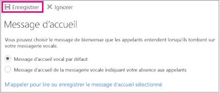 Boîte de dialogue d'accueil avec mise en évidence de bouton Enregistrer