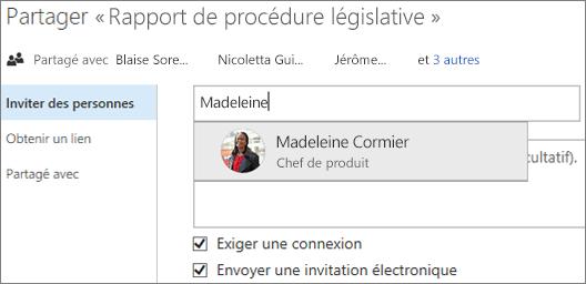 Capture d'écran du partage d'un fichier dans OneDrive Entreprise