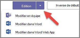 Le bouton Modifier avec les options développé et une flèche pointant sur le bouton de menu déroulant