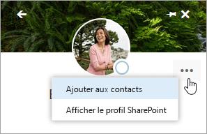 Capture d'écran du curseur pointant sur Ajouter aux contacts dans le menu Autres actions.