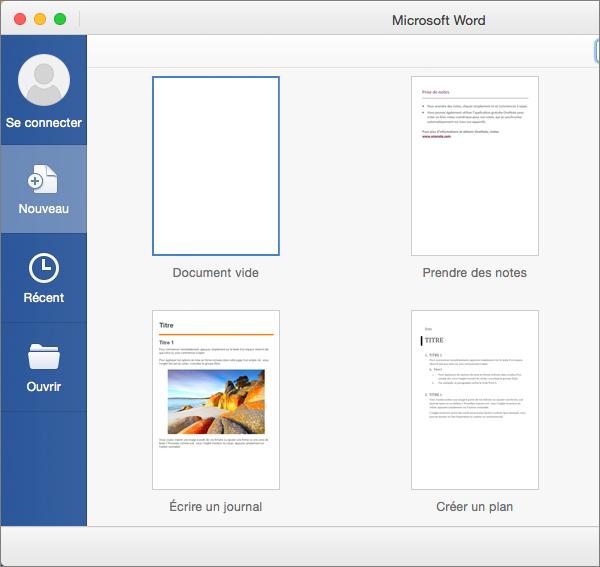 Double-cliquez sur un modèle pour l'utiliser comme base d'un nouveau document.