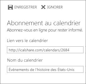 Lien vers un calendrier en ligne